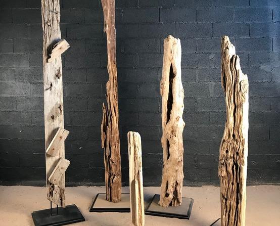 Driftwood sculpture and shelves