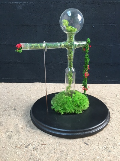 Un jardin dans un verre de laboratoire