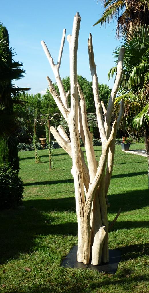 sculpture de branches de bois flotté montées sur socle, grand modèle