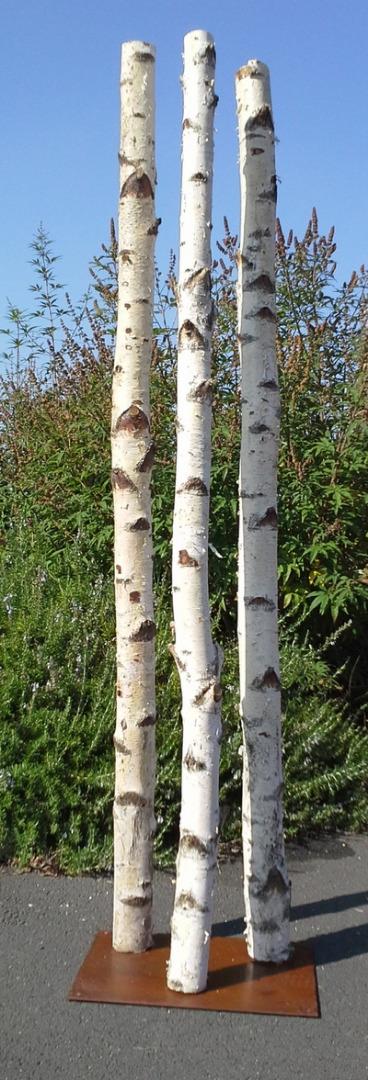 Colonne 3 troncs de bouleaux de 2m en 10cm de diamètre