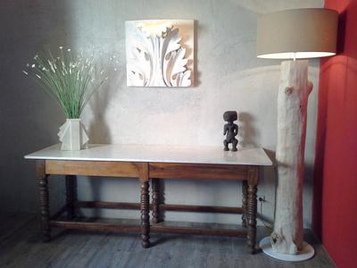 Lampadaire tronc bois flotté abat jour coton